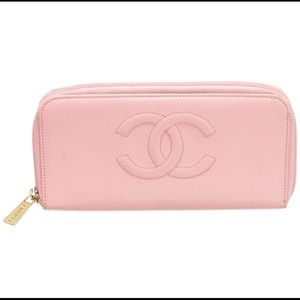 Chanel Pink Caviar Leather Zippy Wallet